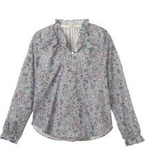 vrouwelijk blouseshirt met paisleyprint en ruches, blauw-bedrukt 40