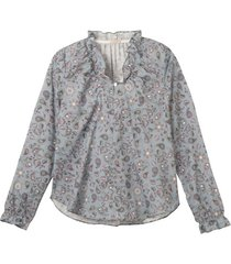 vrouwelijk blouseshirt met paisleyprint en ruches, blauw-bedrukt 44