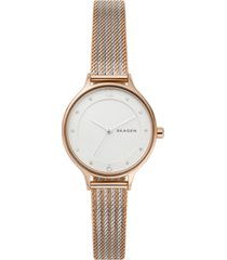 skagen women's anita two-tone stripe stainless steel mesh bracelet 30mm