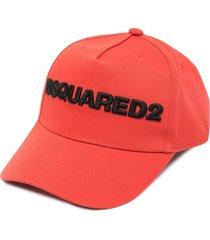 dsquared2 logo-appliqué cap - orange