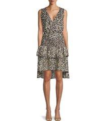 walter baker women's leandria leopard-print dress - dusty olive - size s