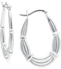 giani bernini fancy oval hoop earrings in sterling silver, created for macy's