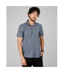 camisa masculina relaxed listrada manga curta azul marinho