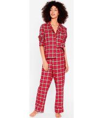 womens get some sleep shirt and pants pajama set - red