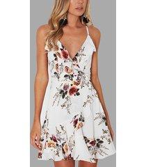 detalles florales con estampado floral aleatorio blanco con cordones volver vestido