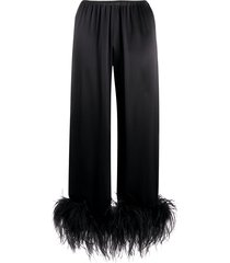 gilda & pearl mia feather-trimmed pajama trousers - black