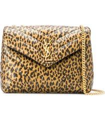 saint laurent small lou leopard print crossbody bag - black
