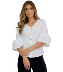 blusa manga globo 3/4 con botonadura metálica blanca unipunto 32388
