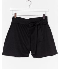 womens closing in tie front shorts - black