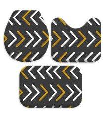 kit 3 tapetes decorativos para banheiro wevans geometrico preto
