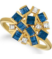 le vian baguette frenzy blueberry sapphires (1 1/5 cttw) and nude diamonds (1/8 cttw) ring set in 14k gold