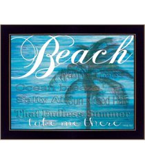 "trendy decor 4u beach - take me there by cindy jacobs, printed wall art, ready to hang, black frame, 18"" x 14"""
