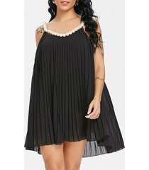 faux pearl mini pleated swing dress