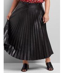 lane bryant women's pleated faux-leather midi skirt 18/20 black