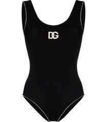 dolce & gabbana retro logo swimsuit - black