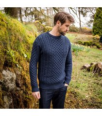 men's glandore aran sweater navy s