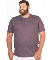 camiseta longford henley plus size estampa geomã©trica roxo - roxo - masculino - dafiti
