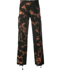 032c high-rise tie-dye-print trousers - black