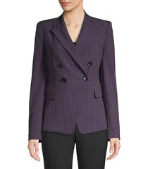 elie tahari women's jezebel double breasted check jacket - pandora multi - size 0