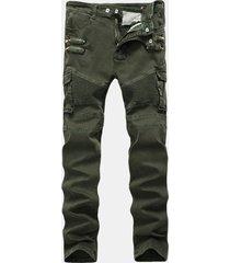 cerniera multi-tasca elasticizzata da uomo casual con pieghe sottile carico pantaloni