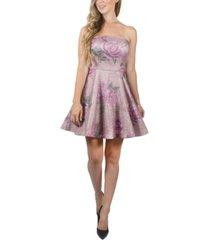 crystal doll juniors' strapless floral-print dress