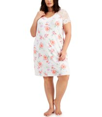 charter club plus size lace-sleeve nightgown, created for macy's