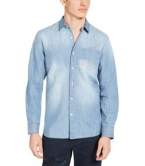 sun + stone men's embroidered denim shirt, created for macy's