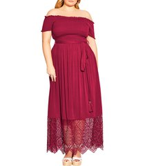 plus size women's city chic off the shoulder maxi dress, size small - red