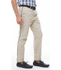 pantalón beige con vena en costado avena 38