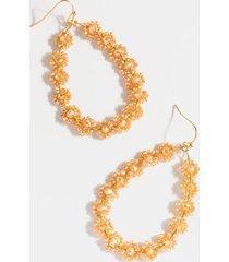 nora flower beaded teardrop earrings - champagne