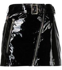 manokhi patent-leather biker skirt - black
