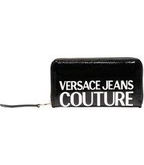versace jeans couture logo zipped wallet - black