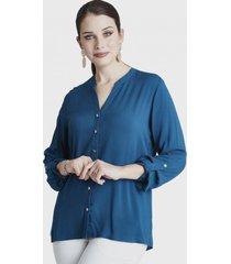 blusa manga larga con botones azul lorenzo di pontti