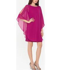 xscape petite chiffon overlay sheath dress