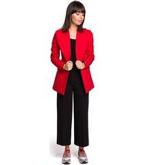 jurk be b103 open blazer van katoen-blend plus size - rood