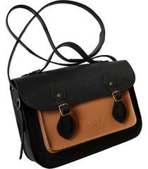 bolsa line store leather satchel pequena couro bicolor preto x savannah premium