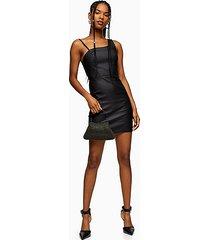 black coated joni asymmetric bodycon dress - black