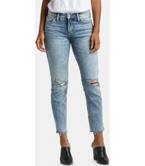 silver jeans co. avery ripped cropped skinny jeans