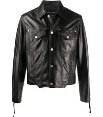 versace lace-up sleeves leather jacket - black