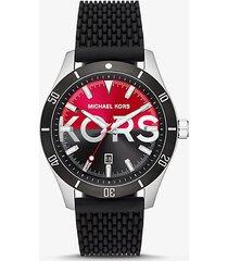 mk orologio layton oversize tonalità argento con cinturino in silicone - nero (nero) - michael kors