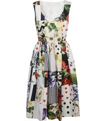 dolce & gabbana sleeveless floral flared dress