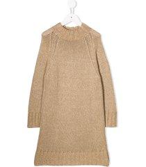 il gufo knitted jumper dress - brown