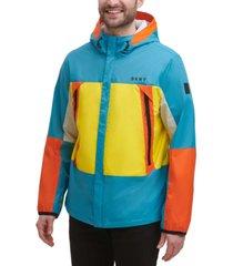 dkny men's regular-fit colorblocked hooded rain jacket