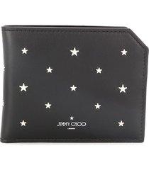 jimmy choo albany studded bi-fold wallet - black