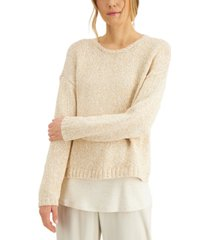 eileen fisher organic cotton drop-shoulder sweater