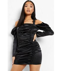 petite geplooide satijnen mini jurk, black