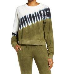 women's electric & rose ronan crest tie dye pullover, size x-large - green