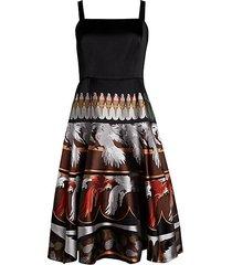 duchesse parakeet embroidery flare dress