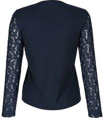 topp med spets alba moda marinblå