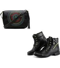 kit bolsa mandala + bota cano curto ziper lateral alice monteiro feminina - feminino